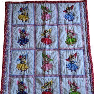 Reversible Baby Quilt with Kittens Dresses & Hats